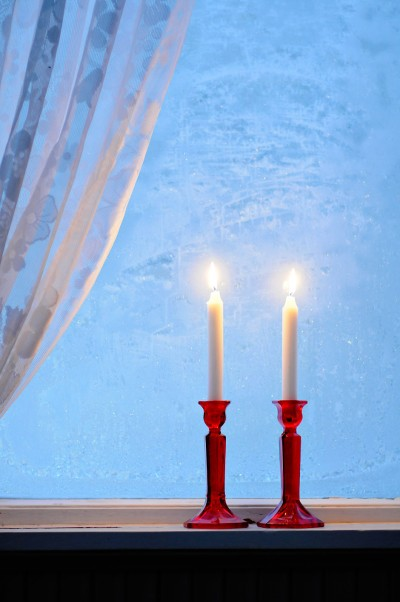 Candle light in winter night
