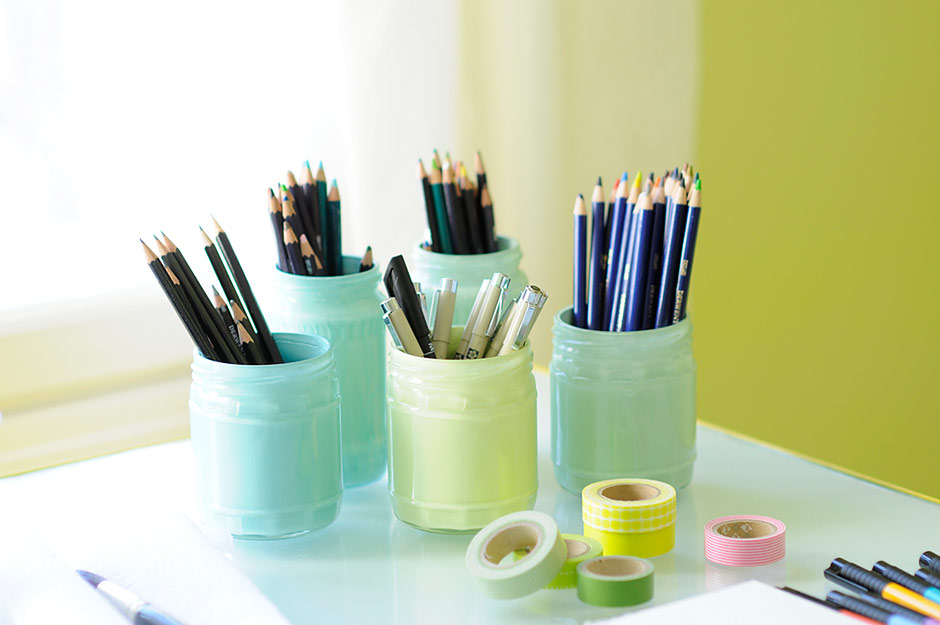 Painting pastel glass jars
