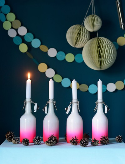 DIY Ombre Painted Bottles aka Advent Candle Holders