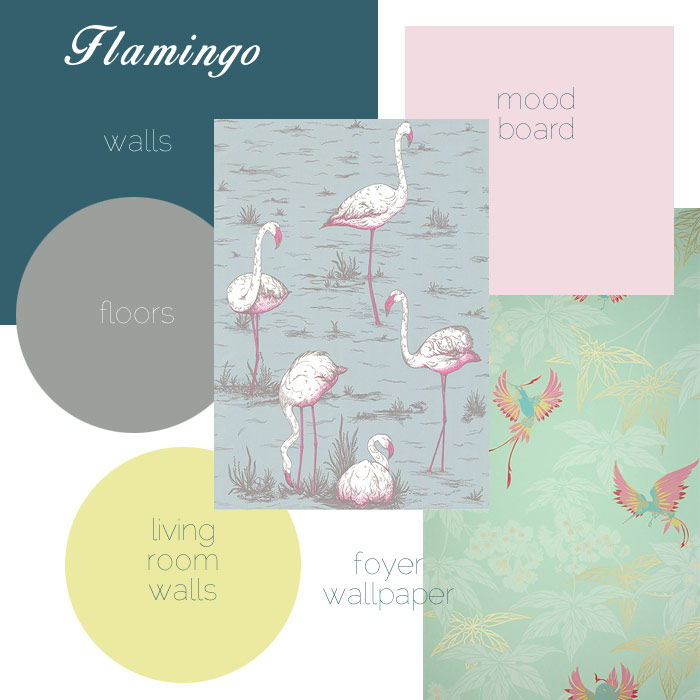 Homeoffice moodboard - Flamingos