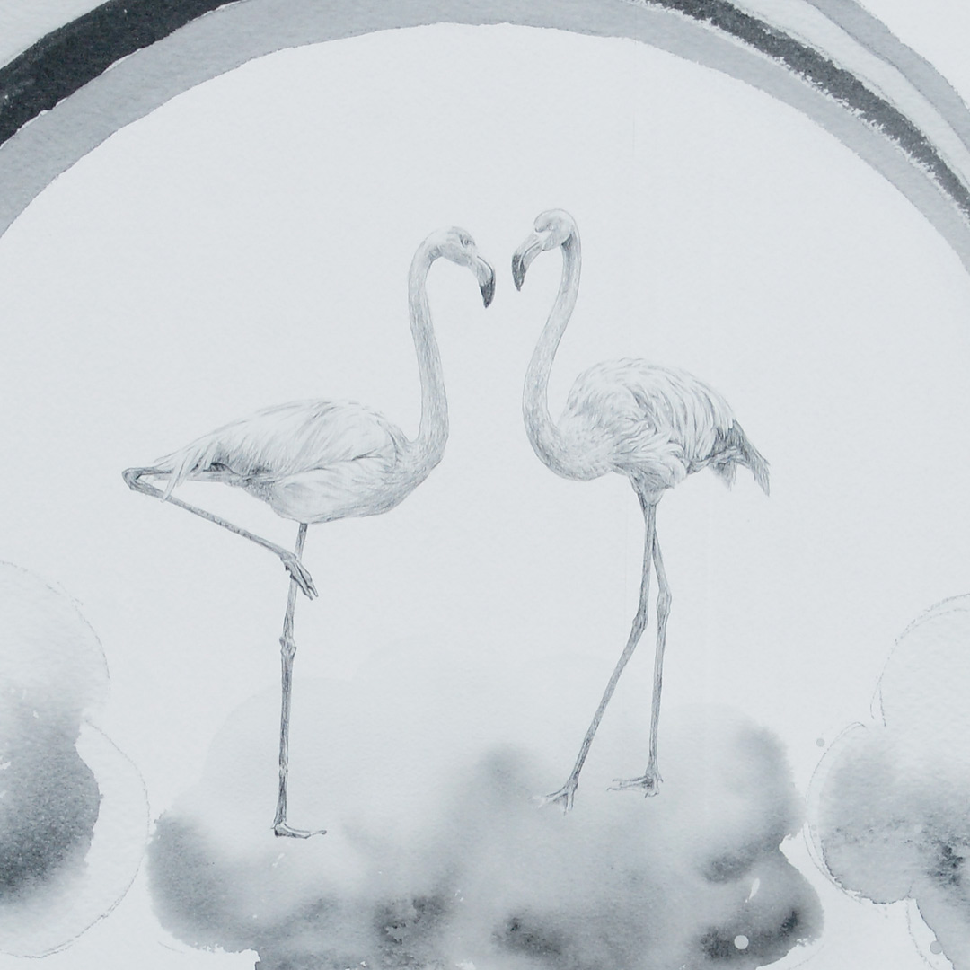 Flamingot - yksityiskohta tapetista