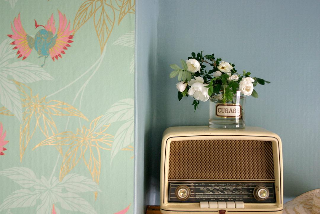 Vintage-radio ja kurarelasi maljakkona