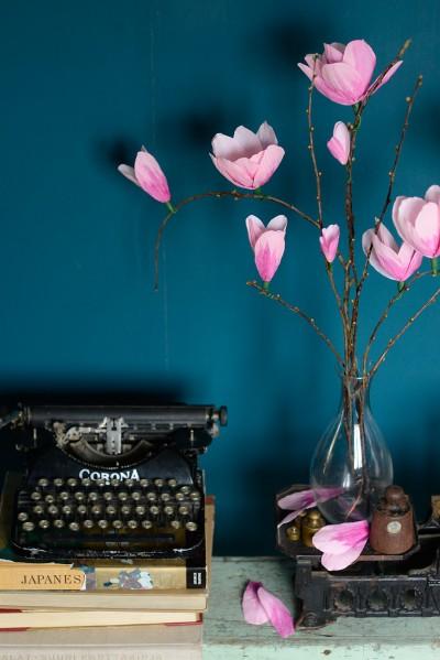Askartele magnoliat kreppipaperista