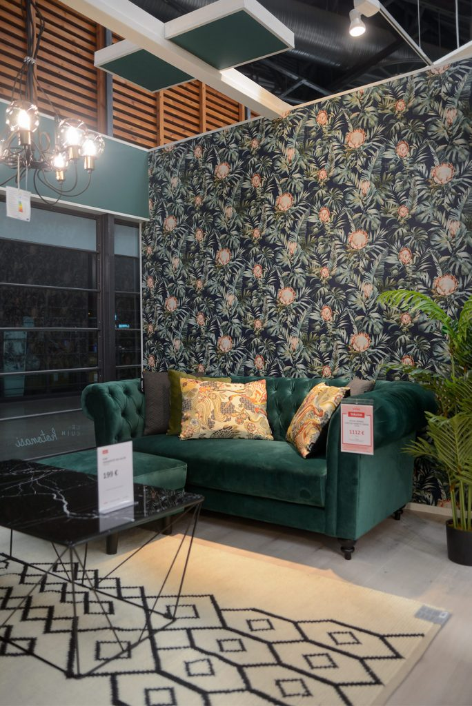 House Nordicin smaragdinvihreä samettisohva