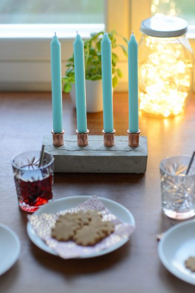 DIY Candle Holders from Concrete And Copper Fittings