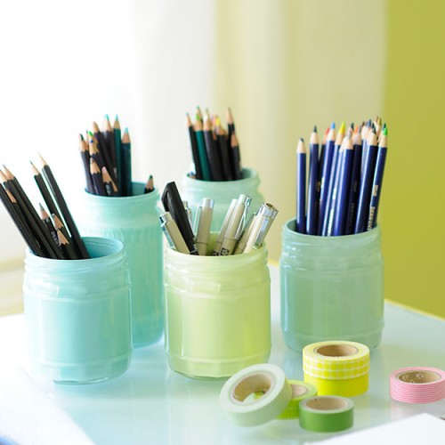 Pastel painted glass jars