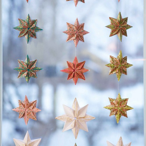 DIY origami paper star curtains